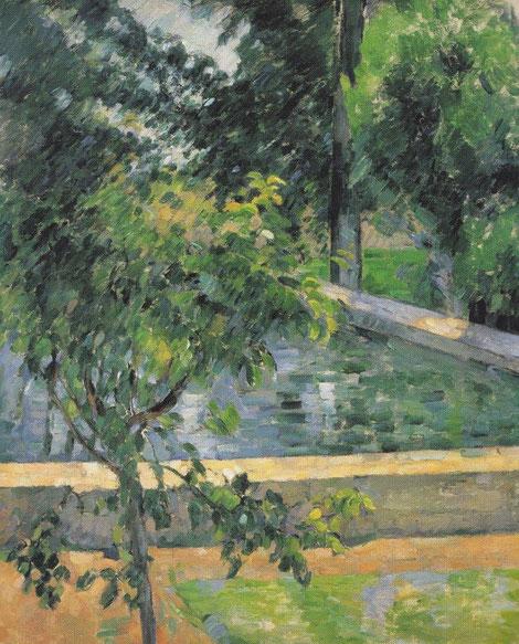 P.Cézanne.El estanque del Jas de Bouffan.1878-79.Óleo sobre lienzo 73x6ocm.Colección Albright-Knox Art Gallery,Buffalo,Nueva York. En su residencia familiar con muros de piedra aquel recinto era como un pais en miniatura,el lago,los castaños,el bosque...