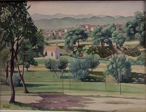 Cagnacio di San Pietro. Veduta di Pederobba 1936.Cortesia de Galleria Gomiero,Milan/Padua. Poética del realismo mágico definida en obras oníricas y absortas.