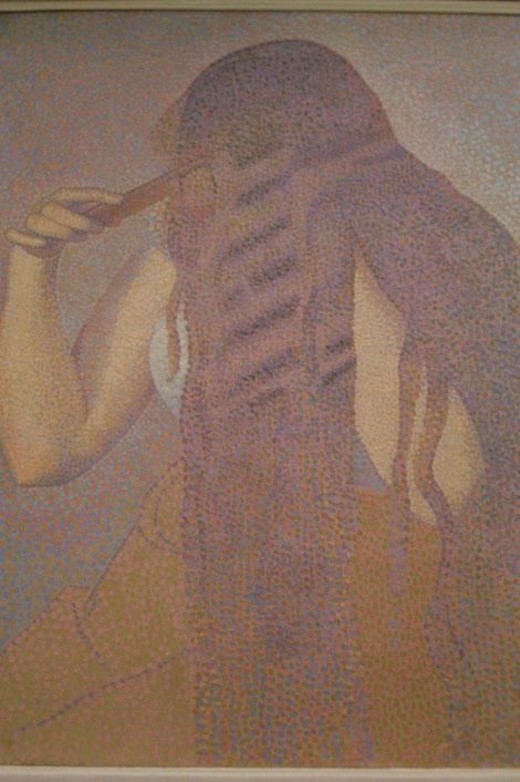 Henri Edmond Cross, La Chevalure.1892 Trata el símbolo de la cabellera de la mujer que encarna el poder de seducción hacia el hombre.Visión casi alegórica de la feminidad.División de tonos que ondulan la melena.