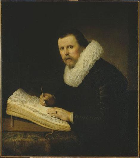 Rembrandt, Retrato de un estudioso, 1631. Expresivo retrato de un hombre engalanado ante una mesa repleta de libros, pertenece a uno de sus primeros encargos. A pesar de su juventud, demuestra su extraordinaria técnica, originalidad y naturalidad.