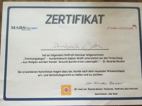 """Zertifikat""""Trennungsangst"""" und """"Aus Welpen werden Hunde! Gesund durchs erste Lebensjahr"""""""