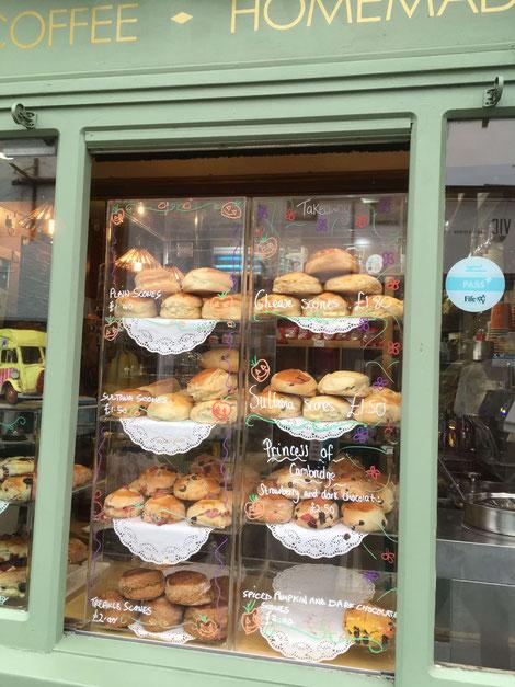Scones in a shop window in St. Andrews