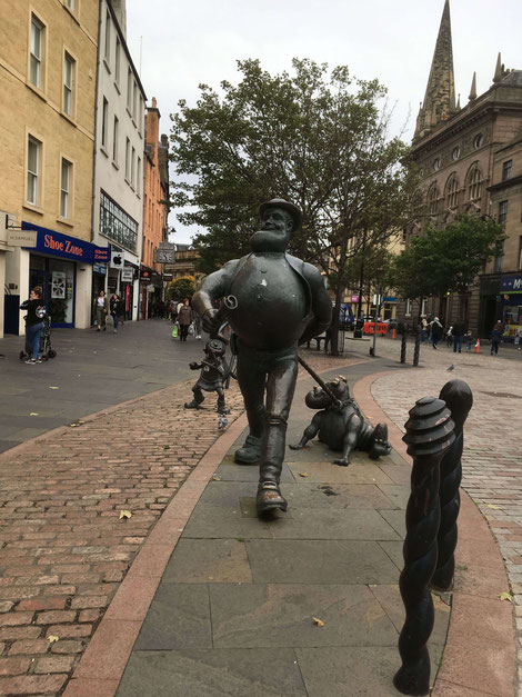 "Statue of ""Desperate Dan"" - a popular British comic magazine character - in Dundee"