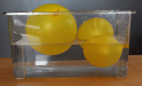 3 schwimmende Luftballons mit unterschiedlicher Eintauchtiefe