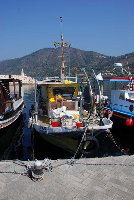 Fishing boat adorned with painted goat horns (top set) at Pomos harbour