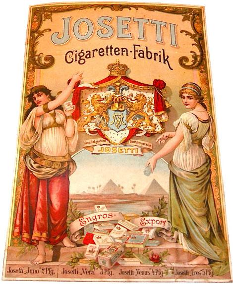 Josetti Cigaretten Dresden großes Pappschild