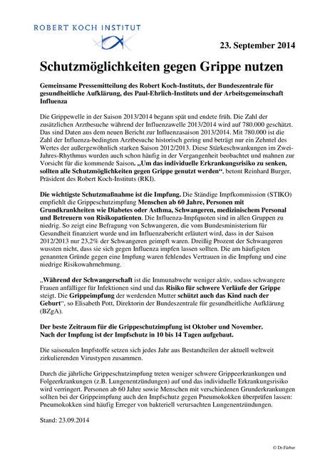Aktuelle STIKO-Empfehlungen zur Grippe-Impfung (Influenza)