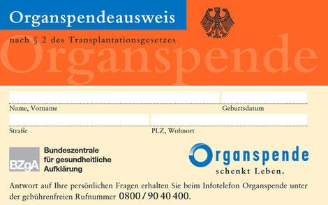Der Organspendeausweis zum Herunterladen