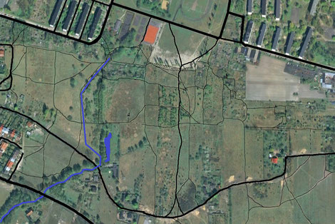 Mapa ścieżek na polach pomiędzy ul. Judyma i Rąbieńską