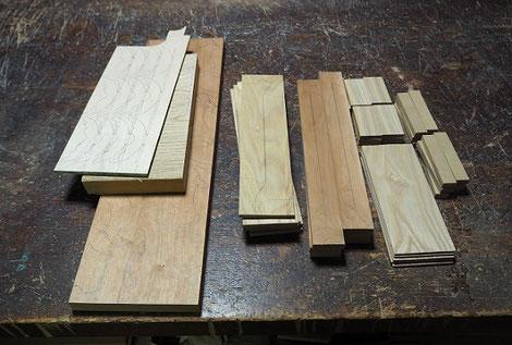 トナカイとソリ製作中~木作りと墨付け~