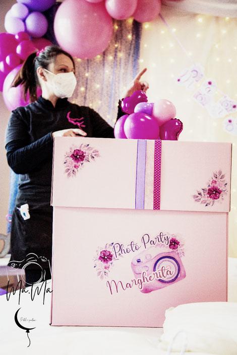 palloncini scatola sorpresa allestimento compleanno