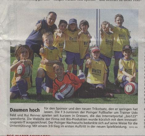 14.06.2012 Die F3 ist ganz vorne im Sportteil der Eberberger Zeitung vertreten!