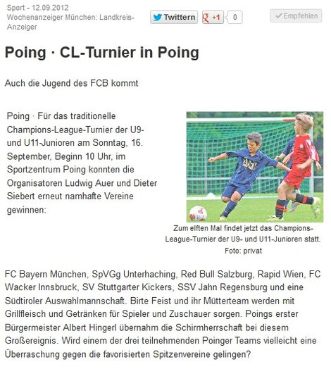 Announcement in der Presse - CL Turnier am 16.09.12