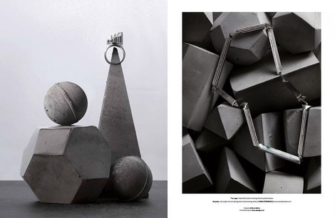 WYLDE MAGAZINE and PASiNGA Geometric Concrete Sculptures, Photographer David Newton, Stylist Bettina Vetter