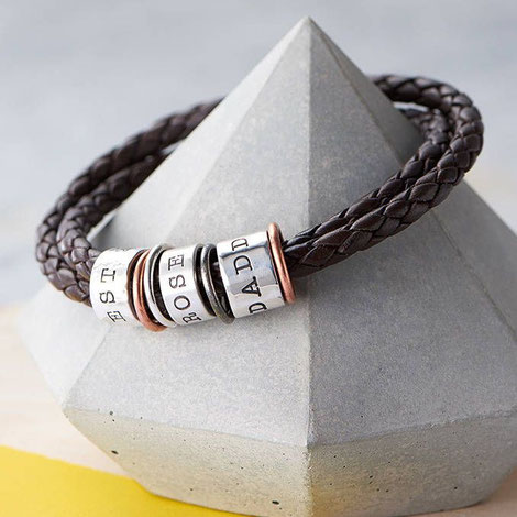 Men's Leather And Silver Story Bracelet by Twisted Typist; Concrete Diamond by PASiNGA