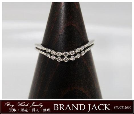 ヴァンドーム青山 プラチナ ダイヤモンド 2連 リング Pt950 Vカーブ 指輪を仙台で高額買取
