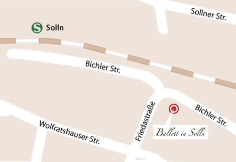 Anfahrtsskizze zu Ballett in Solln