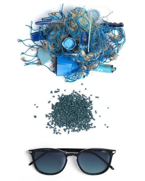 Brillen aus recyceltem Plastikmüll aus dem Meer