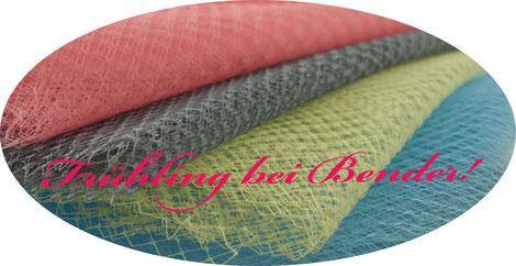 Schleier in frühlingshaften Pastelltönen: gelb, rosé, hellblau, hellgrau.  Mit und ohne Tupfen in 45cm Breite