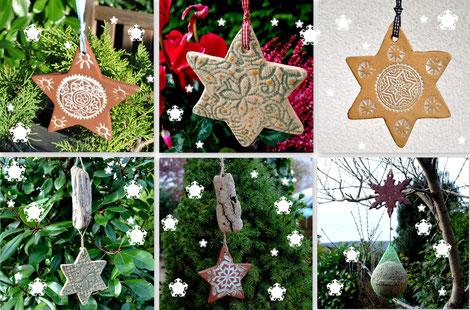 Frostfeste Sterne als Weihnachtskeramik im Garten