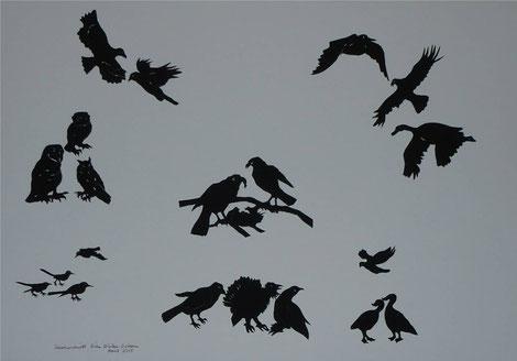 Scherenschnitt Vögel