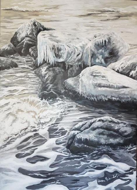 Gemälde in Acryl Steine im Meer