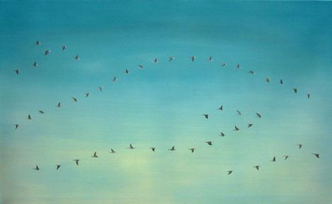 Vogelschwarm 7, 80 x 130 cm, Öl auf Leinwand, 2010