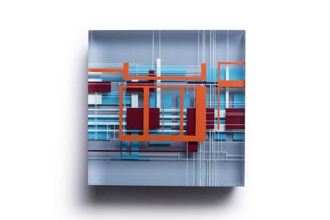 Whoosh   glued, polished glass, acrylic paint    25 x 25 x 6 cm    2019