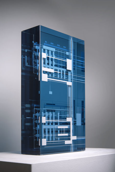 Elevator I. |  glued, polished glass and acrylic paint | 45 x 25 x 9 cm | 2020