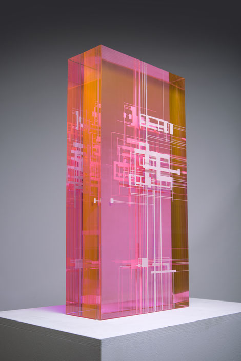 Gyorgy Gaspar, geometric art, art, contemporary, pink, sculpture