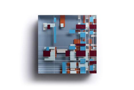 Strings | glued, polished glass, acrylic paint  | 25 x 25 x 6 cm  | 2019 | ●