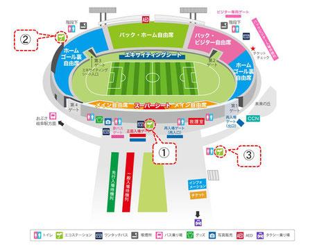 FC岐阜ホームゲーム時 長良川競技場マップ