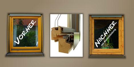 Holzfenster auf Holz-Alu umrüsten: vorher / nachher