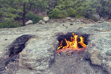 Erdbrand, brennende Felsen, Chimaeria, Türkei