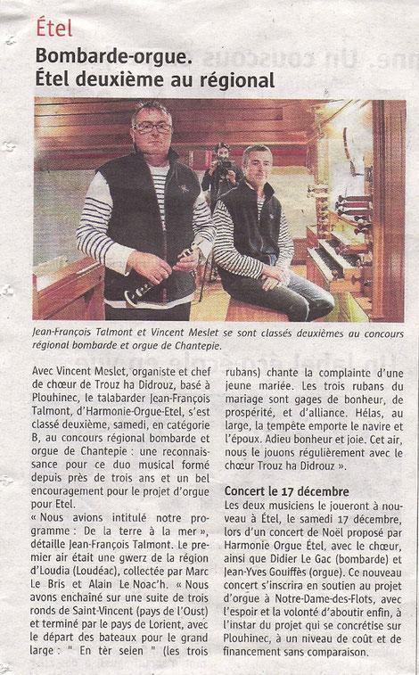 Extrait du Journal Le Télégramme du 19 octobre 2016