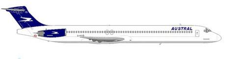 """Die rechte Rumpfseite weist den Schriftzug """"Austral"""" auf, die linke Seite ist """"Aerolineas Argentinas"""" vorbehalten. Courtesy and Copyright: md80design"""