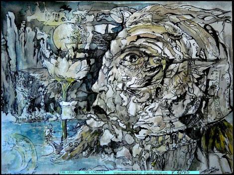 """The Arrival""   watercolor/pen"