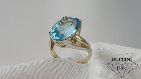 bague bicolore or 18 carats topaze