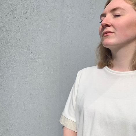 ASCK Shirt N° 02 ecru, naturfarbener Baumwoll-Pikee aus kontrolliert biologischen Anbau, vegan, Handmade in Germany.