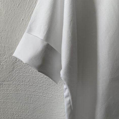 ASCK Bluse N° 02 aus weißem Baumwoll-Popeline aus kontrolliert biologischen Anbau gefertigt. der Stoff ist GOTS-zertifiziert.