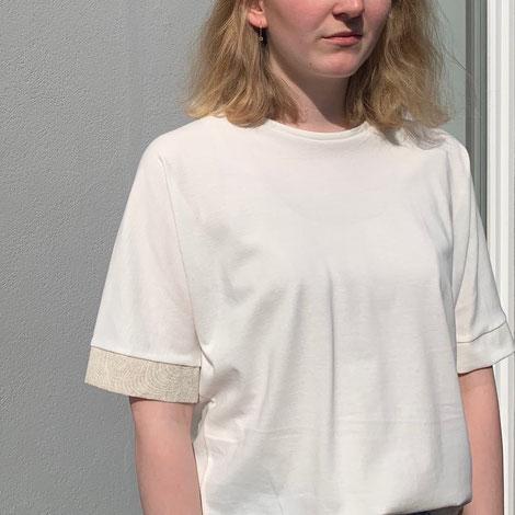 ASCK Shirt N° 02 ecru, naturfarbener Baumwolle-Popeline-Pikee aus kontrilliertbiologischen Anbau (kbA), vegan, Handmade in Germany.