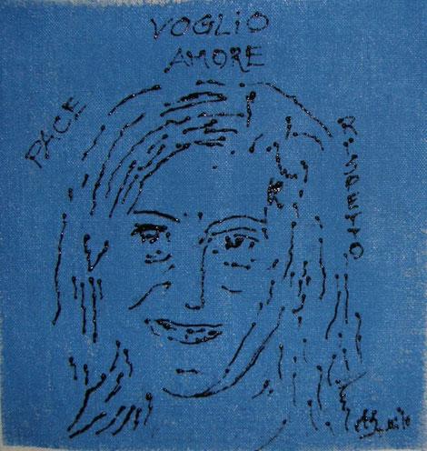 """IO VOGLIO… .PACE -AMORE- RISPETTO I WANT....PEACE, LOVE, RESPECT March 8 th 2010 - 1,10,100,1000 Artiste Cucite In Un'Unica Tela. Artiste che vogliono celebrare l'8 marzo """"IN ARTE """" A indicare Solidarietà e Unità per i diritti delle Donne"""