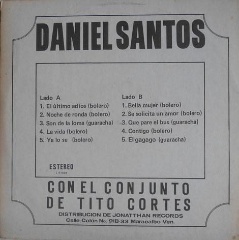 Jonatthan Records LP-1028 - Trasera.  Cortesia: Sergio Santana Archbold.