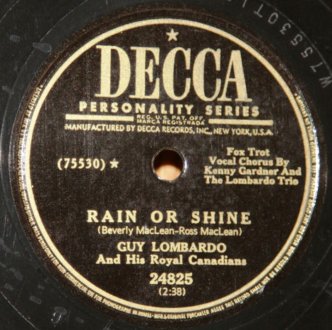 "Decca 75530 B, ""Rain or shine""."