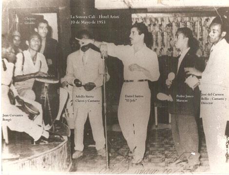 Daniel y la Sonora Cali, el 10 de mayo de 1953, Hotel Aristi - Cali.