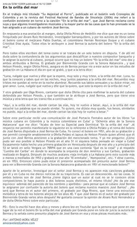 Texto artículo de Antonio Mora Vélez.