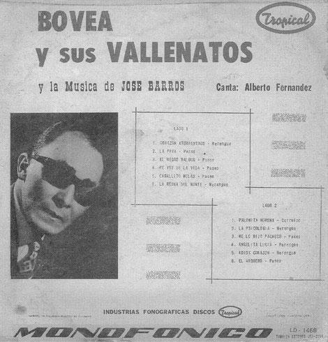 Bovea y sus Vallenatos y La Música de José Barros - Trasera.