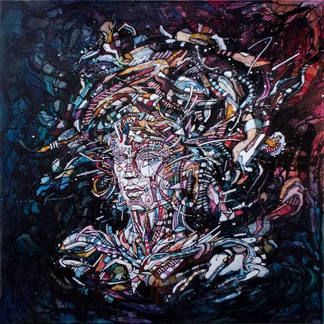 mattb, peinture, acrylique, encre, femme, portrait, graphique, ink, face, painting, acrylic, woman, nude, graphic, urban art, contemporary art, art contemporain