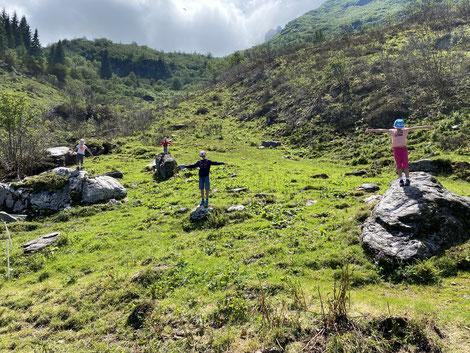 Die Felsen auf der Wiese sind wie kleine Aussichtspunkte auf dem jeder sein Platz findet.
