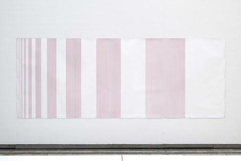 fib(1)=1^2 bis fib(12)=12^2, 144 x 376 cm, Permanentmarker auf Papier, 2015